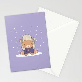Kawaii Cute Winter Bear Stationery Cards