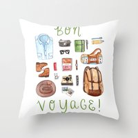 bon iver Throw Pillows featuring Bon Voyage by Brooke Weeber