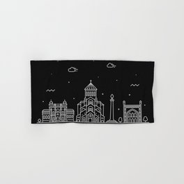 Tbilisi Minimal Nightscape / Skyline Drawing Hand & Bath Towel