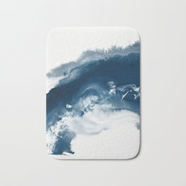 Building the Universe:  A minimal abstract acrylic painting in blue and white by Alyssa Hamilton Bath Mat