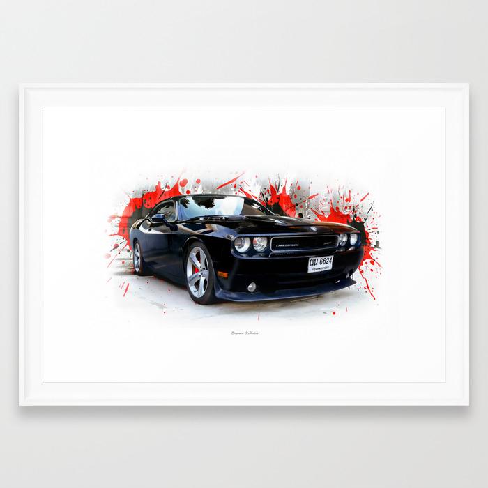Dodge Challenger Srt Framed Art Print By Benjaminhodson Society6