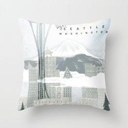 Visit Seattle Throw Pillow