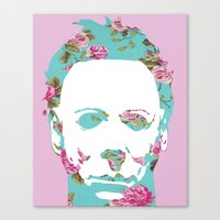 michael myers Canvas Prints featuring Halloween Floral Michael Myers by hellosailortees