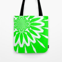 lime green Tote Bags featuring Lime Green Modern Flower by 2sweet4words Designs