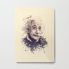 Albert Einstein splatter painting Metal Print