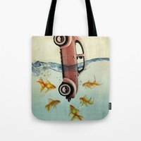 vw Tote Bags featuring VW beetle and goldfish by Vin Zzep