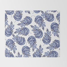 Cobalt Fern Throw Blanket