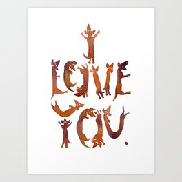 'I Love You' Sausage Dog Typography! Art Print