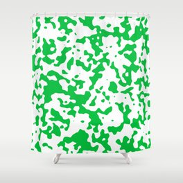 Spots - White and Dark Pastel Green Shower Curtain