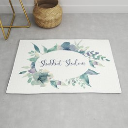 Watercolor Flowers Shabbat Shalom Jewish Art Rug