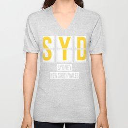 SYD - Sydney Airport - Australia - Airport Code Souvenir or Gift Design  Unisex V-Neck