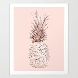 Rose Gold Pineapple on Blush Pink Art Print