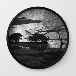 Sunset over the Lake Watercolor (Black and White) Wall Clock