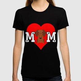 Dog Mom Heart Paw Prints Dachshund T-shirt