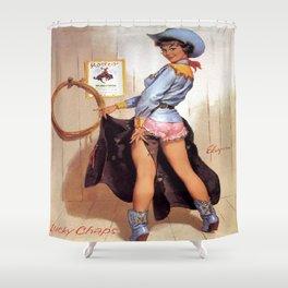 Vintage Western Luck Chaps Elvgren Cowgirl  Shower Curtain