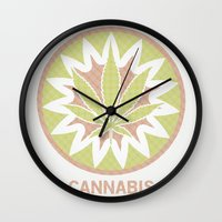cannabis Wall Clocks featuring The Cannabis Case. by Space Jungle