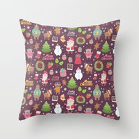 merry christmas Throw Pillows featuring Merry Christmas by Anna Alekseeva kostolom3000