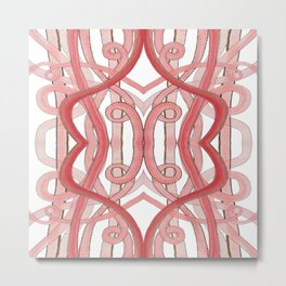 Pink Lines of Abstract Art Metal Print