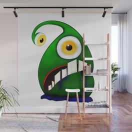 Green big eye monster Wall Mural