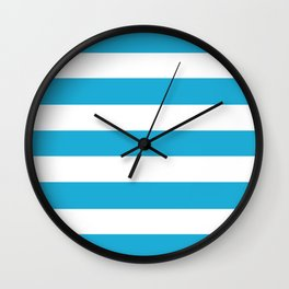 Bright cerulean - solid color - white stripes pattern Wall Clock