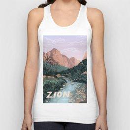 Zion National Park, Utah, USA Illustrated National Parks Unisex Tank Top
