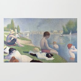 Bathers in Asnieres by Georges Seurat, 1884 Rug
