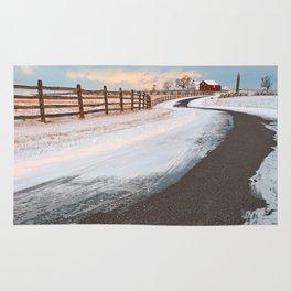 Winding Winter Road Rug