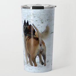 Dogs playing in the snow Travel Mug