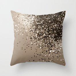 Sparkling Sepia Lady Glitter #1 #shiny #decor #art #society6 Throw Pillow