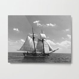 Black and White Tallship Metal Print