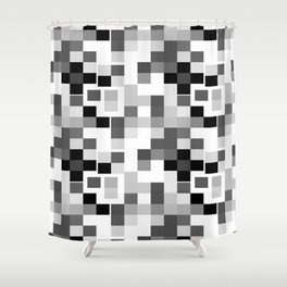 Grayscale Squares Shower Curtain