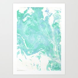 Marble texture background, white blue green marble pattern Art Print
