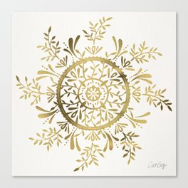 Leaf Mandala – Gold Palette Canvas Print