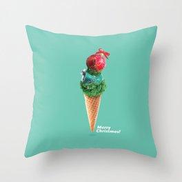 Xmas ice cream scone Throw Pillow