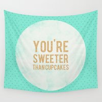 cupcakes Wall Tapestries featuring You're sweeter than cupcakes by Allyson Johnson