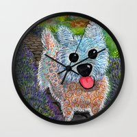 westie Wall Clocks featuring Westie in Lavender Garden by Gini Causton-Keene