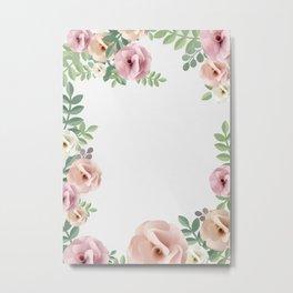 Pink Floral Art Border Painting Metal Print