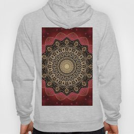Boho chic Red Gold Mandala Hoody