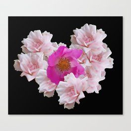 Pink Roses in Heart Shape on Black Canvas Print