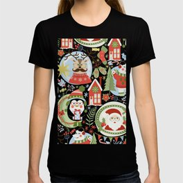 Holiday Christmas Winter Wonderland with Hipster Santa Reindeer Polar Bears and Penguins T-shirt