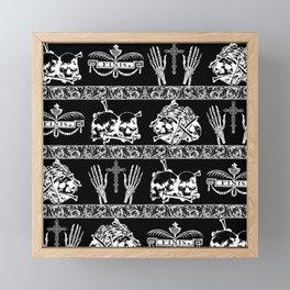 Engraved Skulls Vintage Gothic Print Framed Mini Art Print
