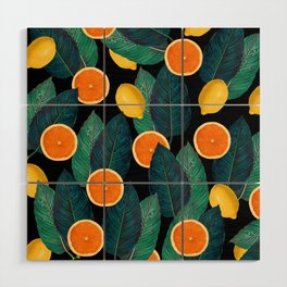 Lemons And Oranges On Black Wood Wall Art
