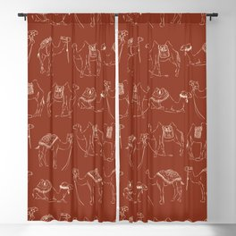 Linocut Camels No. 2 in Rust Blackout Curtain