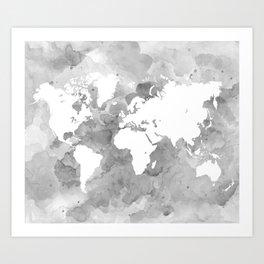 Design 49 Grayscale World Map Art Print