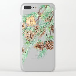 pine cones watercolor Clear iPhone Case