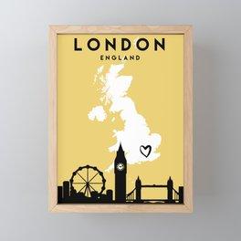 LONDON ENGLAND LOVE CITY SILHOUETTE SKYLINE ART Framed Mini Art Print