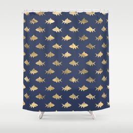 Elegant Gold Fishes Pattern Shower Curtain