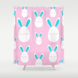 Happy Bunnies in Pink   Easter Bunny   Easter Egg Bunny   pulps of wood Shower Curtain