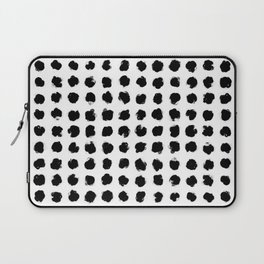 Black and White Minimal Minimalistic Polka Dots Brush Strokes Painting Laptop Sleeve