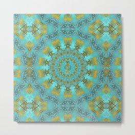 Golden Reiki symbols in Blue quartz  Kaleidoscope Mandala Metal Print